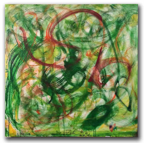 "green original abstract painting on canvas 30""x30"""