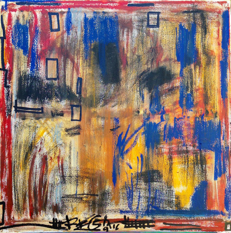 "original abstract oilstick painting on canvas 24""x24"""