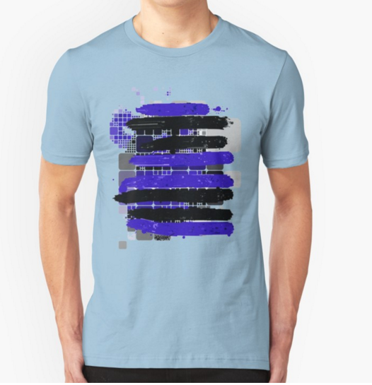 Black and Blue Stripes by RegiaArt - Short Sleeve T-shirt