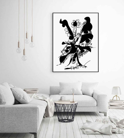 Printable Abstract Art, Instant Download, Black WallArt, Plant Art Print, Digital Drawing, Black White Drawing Art, Home Decoration RegiaArt