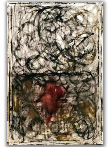 RED WINE DROP HERE - ORIGINAL Abstract Art Painting on Canvas by Regia Marinho. Black White Decor, Size: 24 x 30 inches