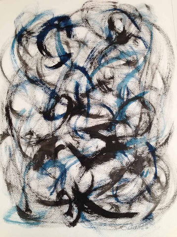"Original Drawing Black Blue White Making Waves, Original Drawing Ink Brushstrock on Watercolor Paper 18""x24"" - RegiaArt"