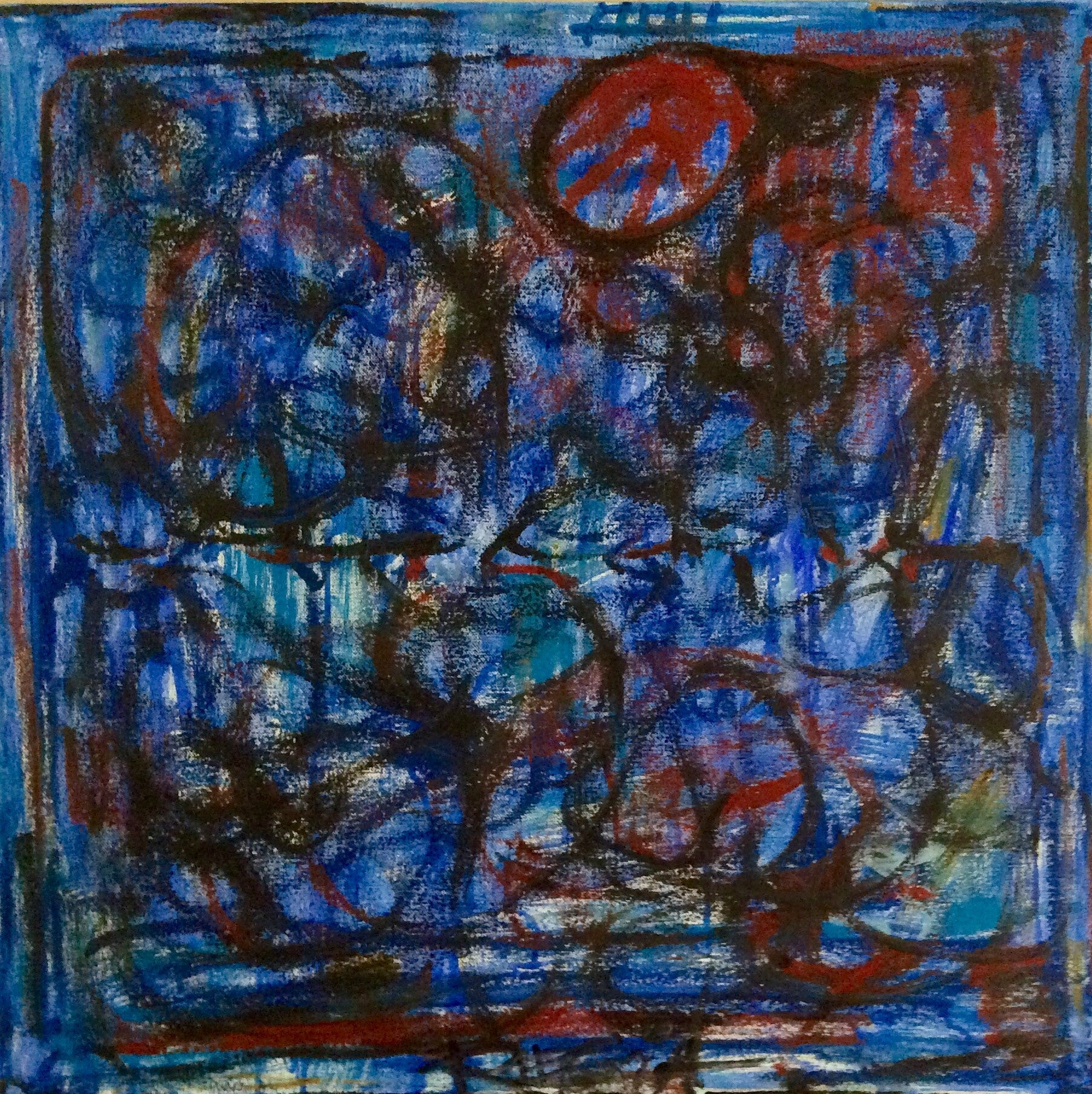 "blue original abstract painting on canvas 24""x24"""