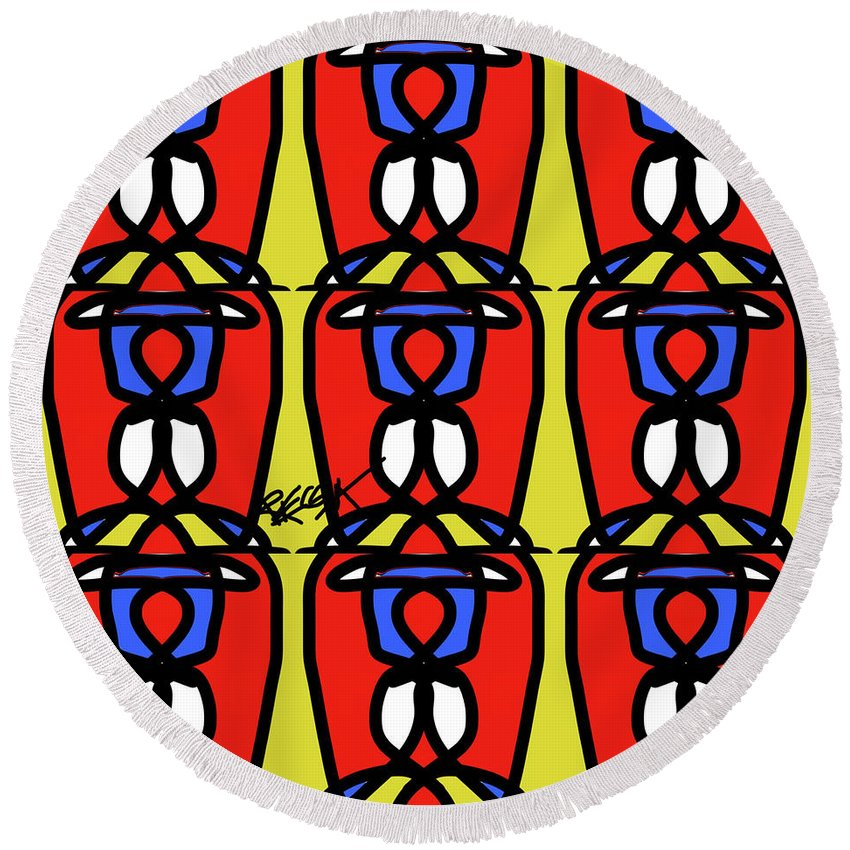 Bright Bold Regiaart - Round Beach Towel