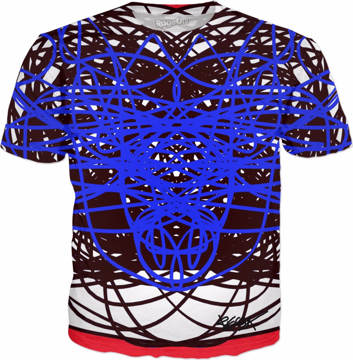 Red Blue RegiaArt T Shirt Double Sided Black