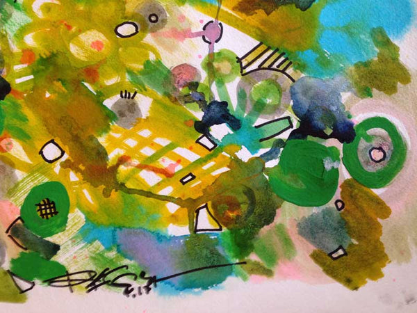 "ORIGINAL Drawing Contemporary Abstract Modern Green Watercolor Ink on Paper, 12""X12"" - RegiaArt"