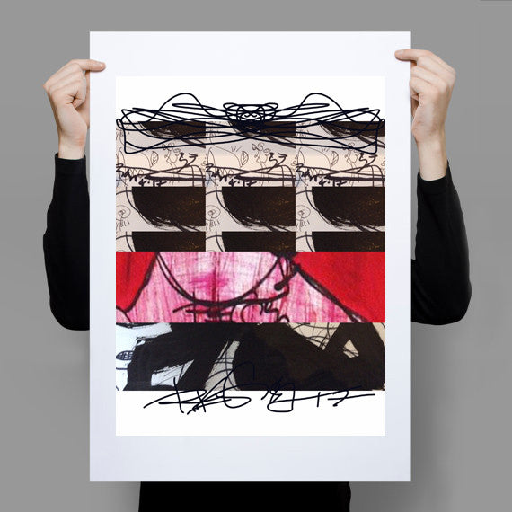 Instagram Abstract Red Black RegiaArt Poster