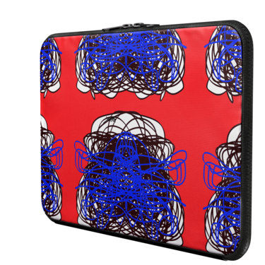 3 COLORS ABSTRACT REGIAART BLUE RED BLACK MAC LAPTOP SLEEVE