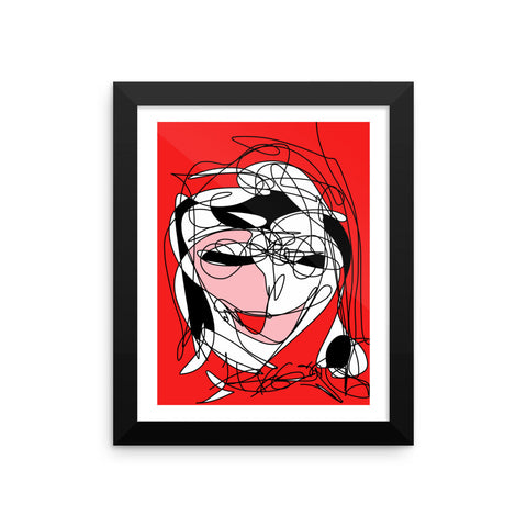 Abstract Red Black Face RegiaArt - Framed poster, paper