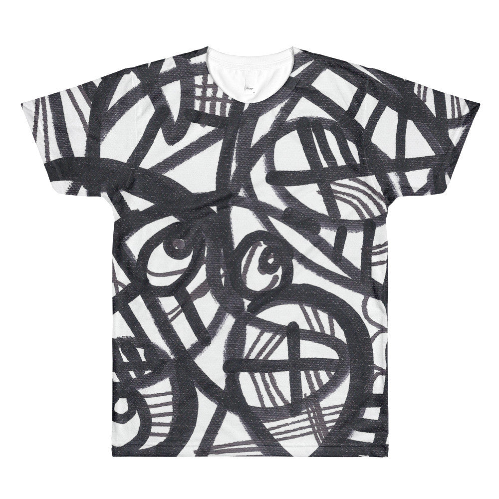 11 Lines Black and White Abstract RegiaArt - Sublimation men's crewneck t-shirt, polyester