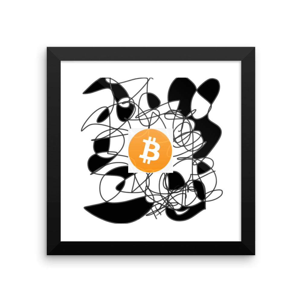 Bitcoin BTC, on Abstract Black White Artwork - Framed poster