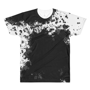 Black White Splash Painting All-Over Printed T-Shirt