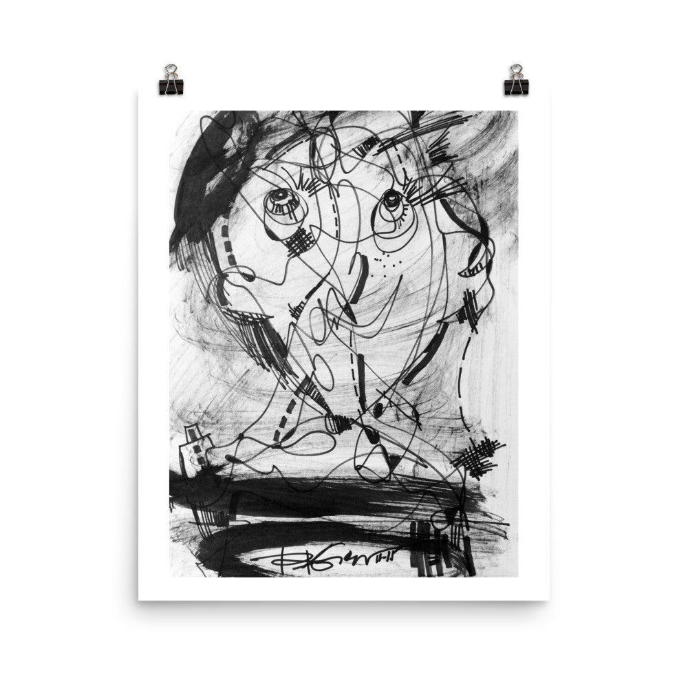 1511 Face Black White Abstract Drawing Art Poster Paper