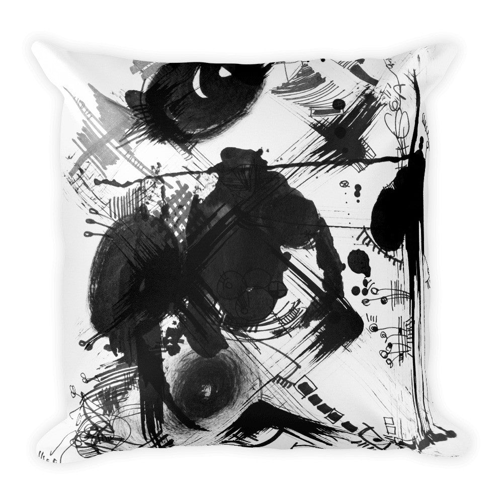 "A Dramatic Black White Abstraction RegiaArt - Square Pillow 18""x18"", polyester"
