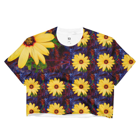 Yellow Flower Ladies Crop Top
