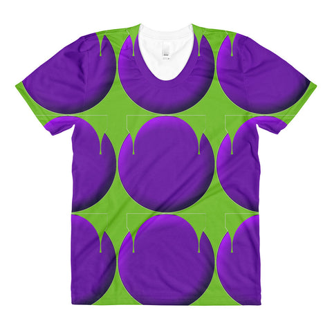Purple Green RegiaArt Design - Sublimation women's crew neck t-shirt