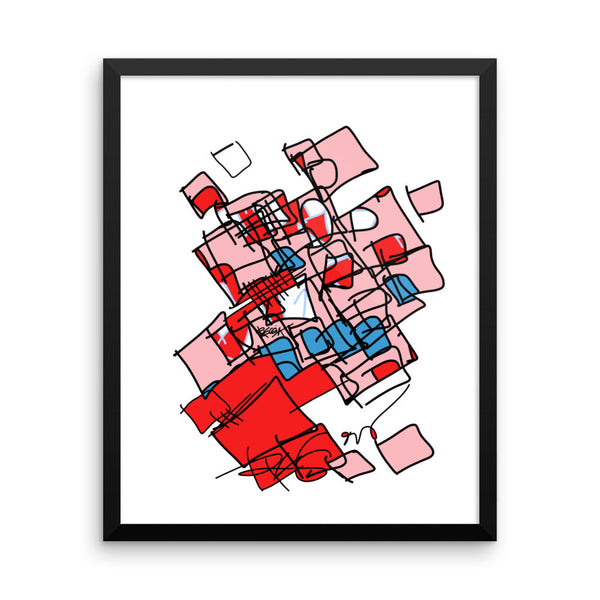 Squared in Red and Pink - Framed poster