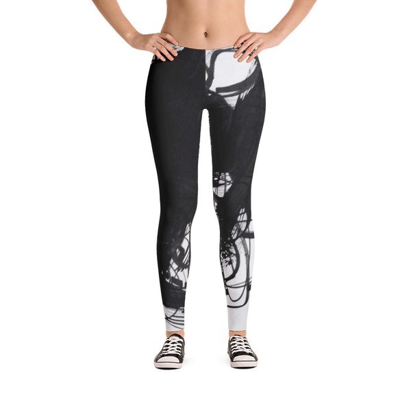 18 Black White Abstract Art - RegiaArt Leggings, polyester, spandex
