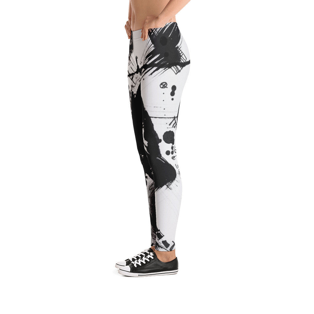A Dramatic Black White Abstraction - Women Leggings, pants, polyester, spandex