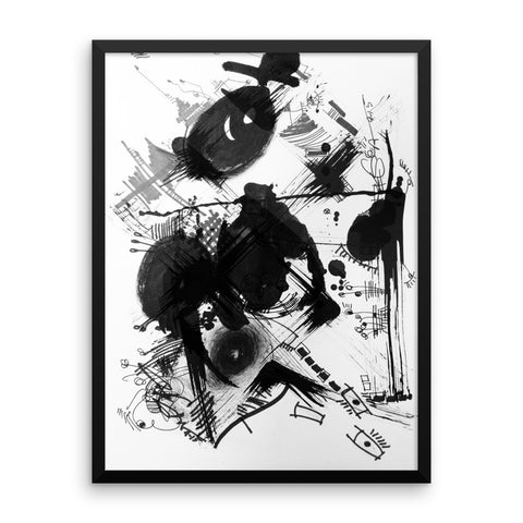 A Dramatic Black White Abstraction - Framed poster paper