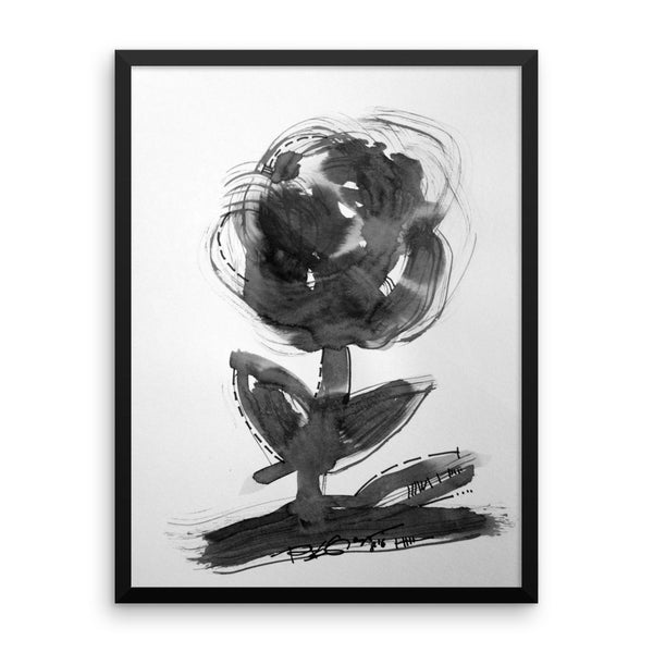 Black Flower Abstract Art RegiaArt - Framed poster paper