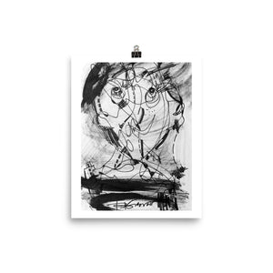1511 Face Black White Abstract Drawing - Art Poster, paper