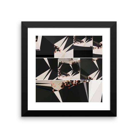 Abstract Black White Geometric RegiaArt - Framed poster, paper