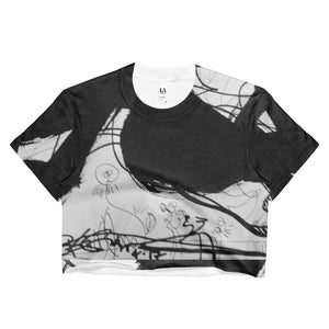 Black White Ladies Crop Top