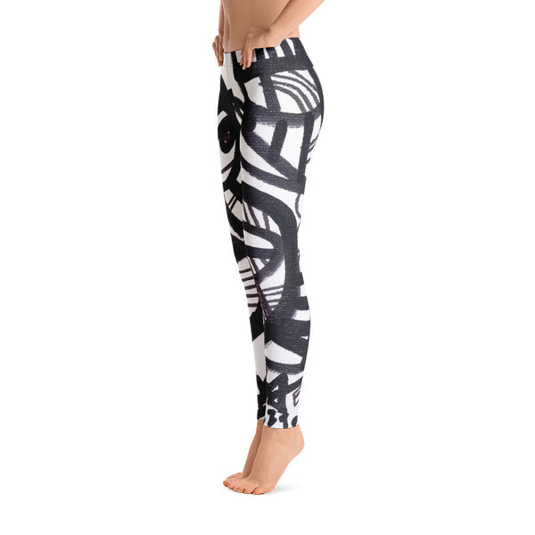 11 Lines Black and White RegiaArt - Leggings, polyester, spandex
