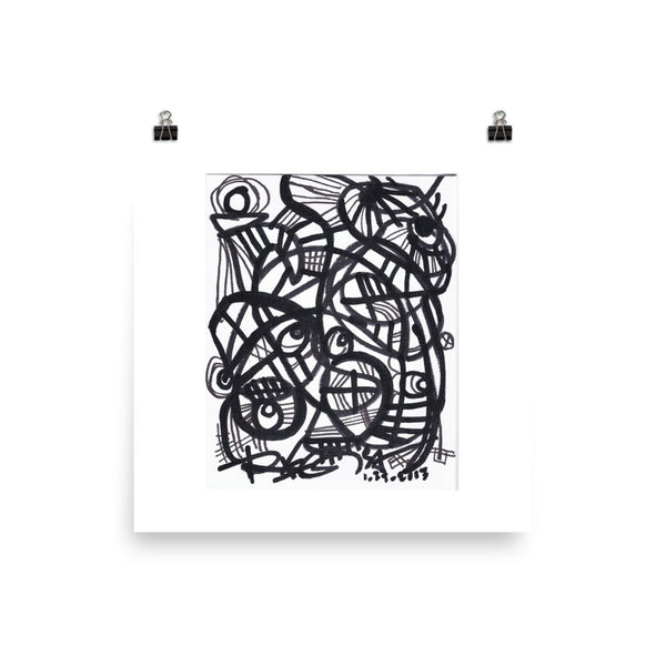 11 Lines black white RegiaArt - Abstract Art Poster acid-free paper
