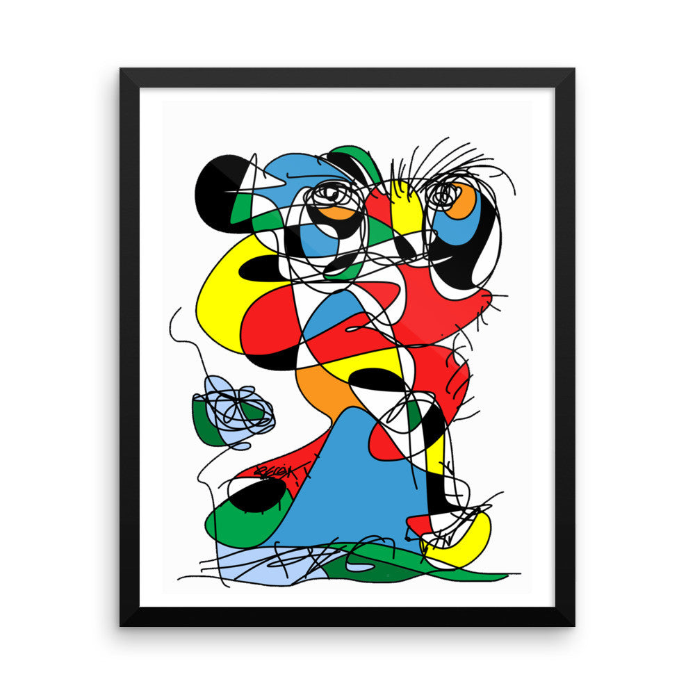 Colorful Figure w Flower Abstract RegiaArt - Framed poster