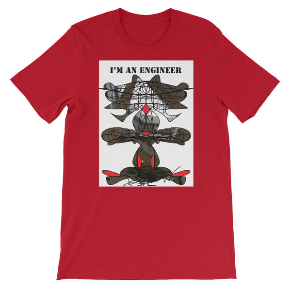 I'M AN ENGINEER - RegiaArt Black Red Abstract Design. Unisex short sleeve t-shirt