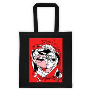 Abstract Face RegiaArt - Cotton Canvas Tote bag, red, black, pink, white