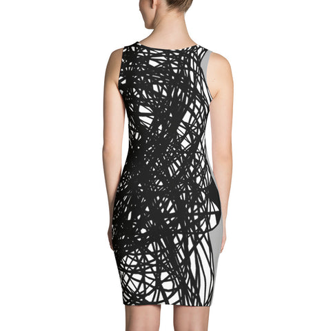 Black and Grey RegiaArt Design - Sublimation Cut & Sew Dress, polyester, spandex