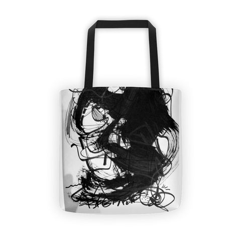 18 Black White Abstract Art - Tote bag, cotton bull denim