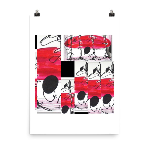Red Black White Abstract Art Print Poster - RegiaArt