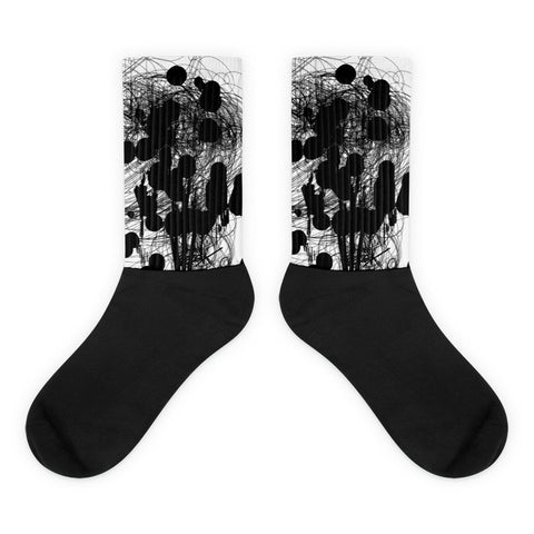 Abstract Black White Alchemy RegiaArt -  Black foot socks