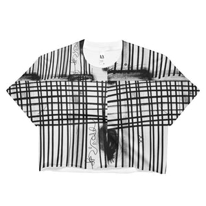 Black White Lines Ladies Crop Top