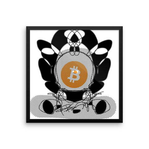 Bitcoin BTC, Digital Black White Art Drawing - Framed poster