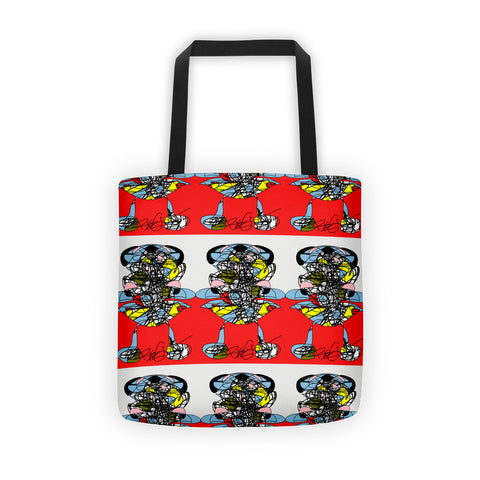 "A Girl in the Red Sea - Tote bag all over, 15"" x 15"" polyester"