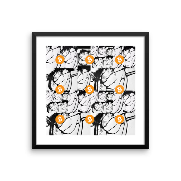 Bitcoin BTC, on Black White Abstract Artwork - Framed poster