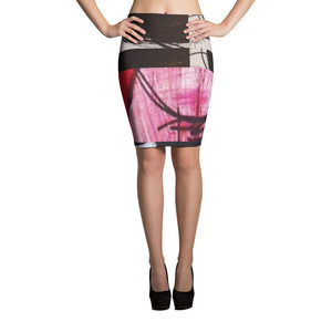 Red Black Pencil Skirt