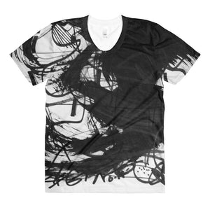 18 Black White Abstract Art - Sublimation women's crew neck t-shirt, polyester