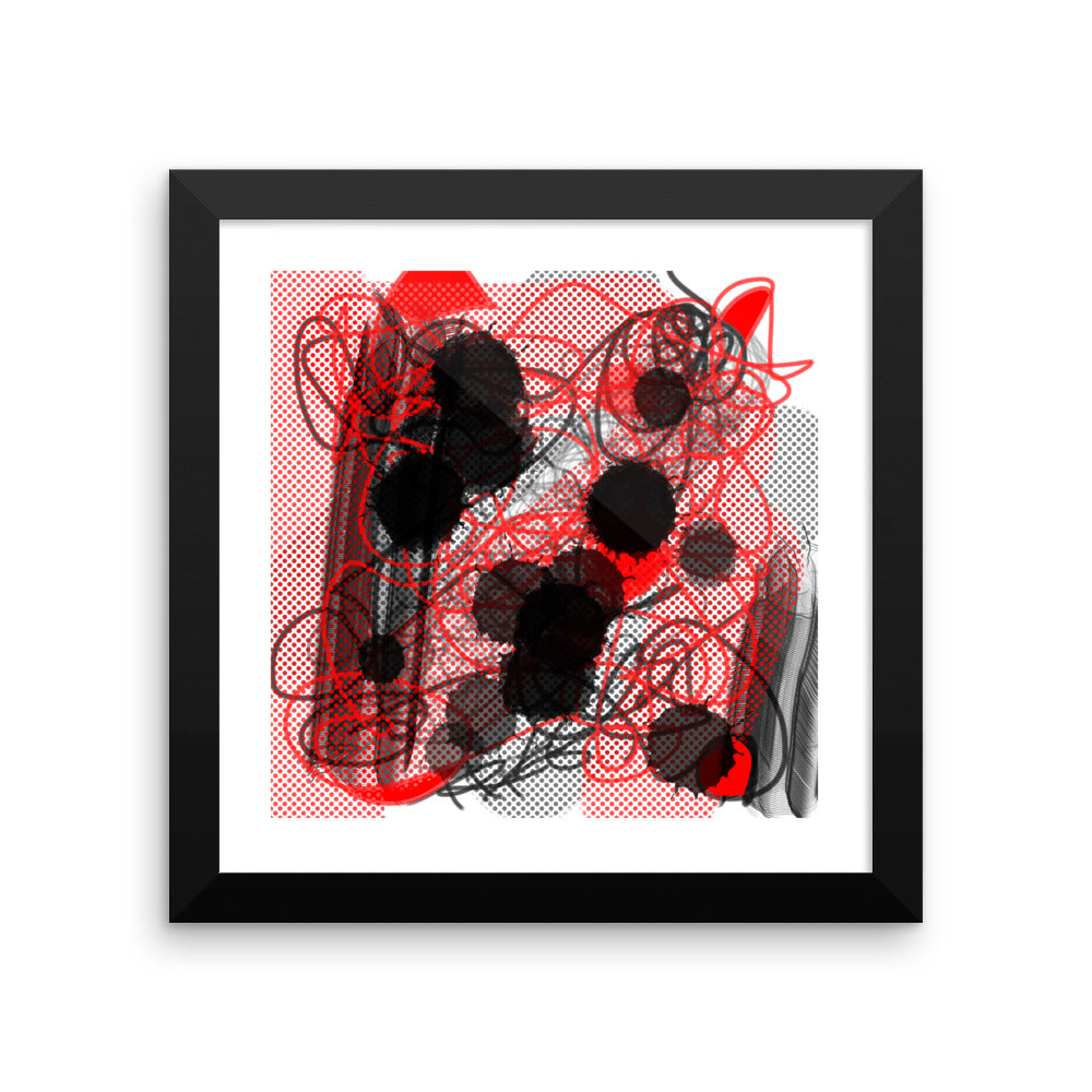 Instagram Abstract Red Black Artwork - Framed poster