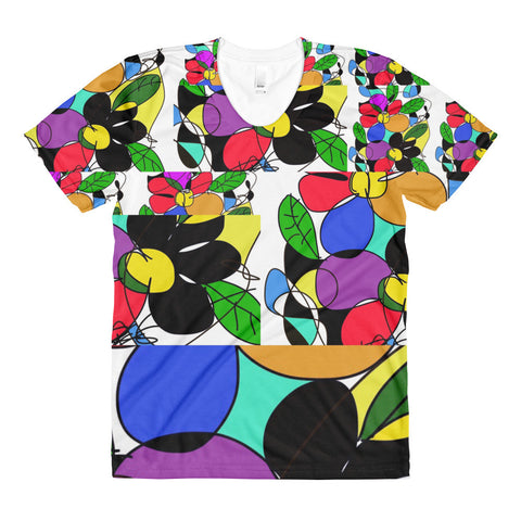 Colorful Flowers RegiaArt Sublimation women's crew neck t-shirt