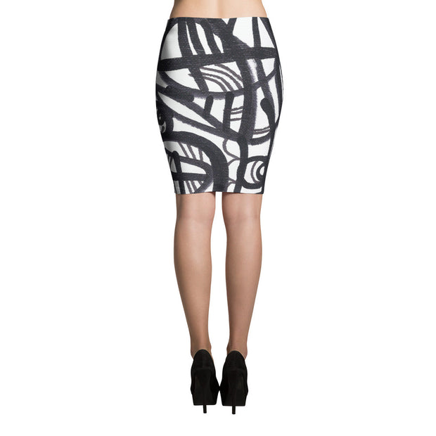 11 Lines Black White Abstract Art - Sublimation Cut & Sew Pencil Skirts