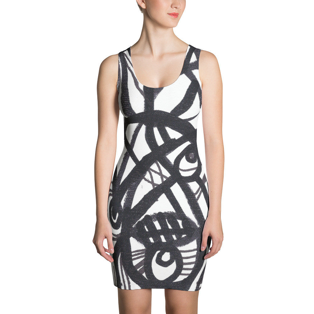 11 Lines Black White Abstract RegiaArt - Sublimation Cut & Sew Dress, polyester, spandex