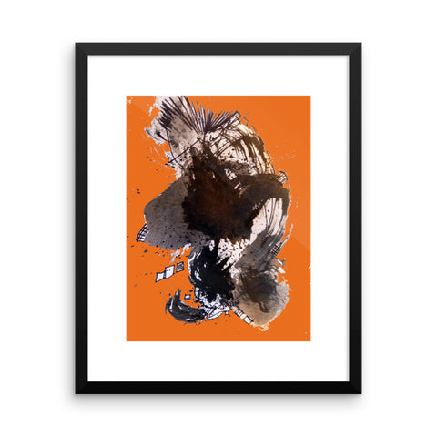 Black and Orange Abstract Art RegiaArt - Framed poster paper