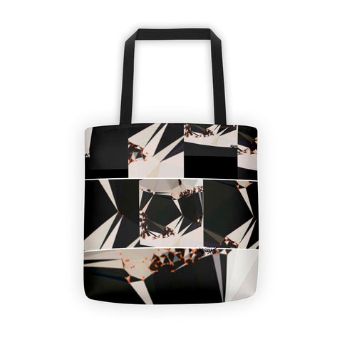 "Abstract Black White Geometric - Tote bag 15""x15"" all over"