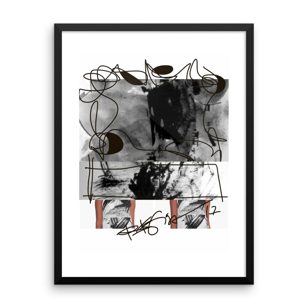 Instagram Post Abstraction in Black and White - Framed poster acid-free paper